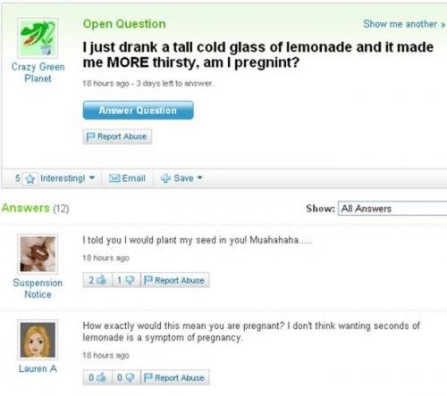 Funny Yahoo Answers 10
