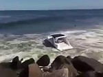 Abandoned Boat Gets Absolutely Hammered Against The Rocks