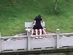 Couple Happily Do It On A Park Bench