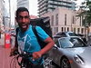 Angry Taxi Driver Takes Out A Food Delivery Bike