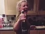 Blonde Can Crack A Champagne Bottle With Her Butt