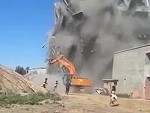 Building Demolition Goes Very Badly For The Excavator