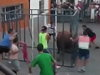 Bull Gets Inside A Safety Cage And Fucks A Dude Up