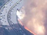 California Fire Comes Right Up To The Freeway