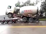 Cement Truck Loading Violently