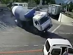 Cement Truck Makes A Cunt Of Itself
