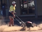 Council Worker Gets Paid To Mow The Dirt