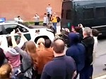 Crowd Goes Wild When Police Crash Into Themselves