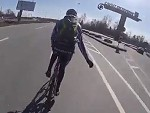 Cyclist Gets Fucking Drilled By A Truck Maybe Stay Off The Highway Next Time