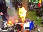 Destroys His Bike In A Fireball Ripping An Average Burnout