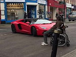 Disabled Guy Fucking With A Lambo Just Because