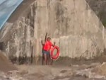 Drone Used To Carry A Lifebuoy To A Man Trapped By Flood