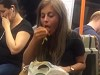 Drunk Girl Eating Pasta On The Subway