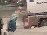 Elsa Helps A Boston Police Van Get Out Of The Snow