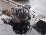 Engine Torn From Car In An Accident Still Running