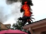Fire Breathing Dragon Catches Fire During A Disney Parade