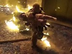 Fireman Catches Kid Thrown From A Burning Building