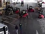 Forklifts Work Together To Stop Thieves Escaping