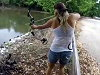 Girl Uses A Bow And Arrow To Catch A Huge Fish