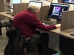 Grandpa Has Discovered The Internet At The Local Library