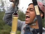 Guy Loses Something On The Flying Fox