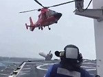 Helicopter Coming Into Land On A Ship In Rough Seas