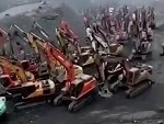 Hundreds Of Excavators Migrating Somewhere In China