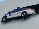 Is This Police Car Really Crashed Or Is It Just Art