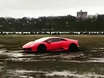 Jerkhole Takes His Lambo For A Thrash In The Mud