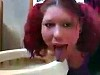 Just A Disgusting Bitch Licking A Toilet