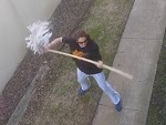 Just The Local Crackheads Fighting With Brooms And Mops