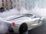 LaFerrari Rips Donuts On A Busy Street And The Crowd Love It