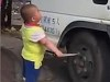 Little Boss Threatens Truck Driver With A Knife
