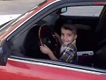 Little Dude Ripping Skids In Dads Beemer