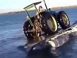 Loading Tractor Onto A Barge Does Not Go As Planned