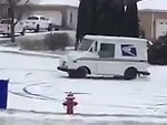 Mail Delivery Man Ripping Skids In The Snow