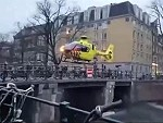 Medivac Helicopter Lands On A Bridge In Amsterdam