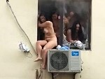Naked Chicks Trying To Escape A Burning Building