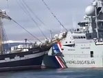 Naval Ship Collides With An Old Sailing Ship