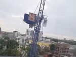 Office Workers Watch As Crane Topples Over