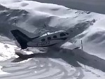 Pilot Has Some Trouble Landing On The Icy Runway