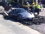 Porsche Somehow Drove Onto Wet Cement