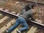 Rightfully Gets His Arse Beat For Throwing A Guy On The Tracks
