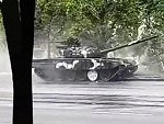 Russian Tank Wipes Out Driving Through Minsk
