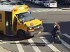 School Bus Takes Out A Woman Pedestrians