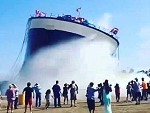 Ship Launches With A Splash