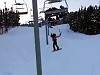 Skier Stuck On The Ski Lift Takes The Hurty Way Down