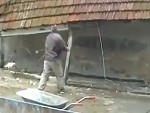 Takes His Life Into His Hands Demolishing A Roof