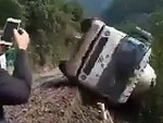 Tanker Truck Goes Over A Cliff Spectacularly