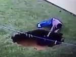 Terrifying Moment A Little Boy Falls Into A Sink Hole